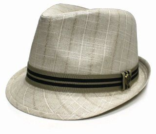 City Hunter Pmt600 Noise Pattern with Stripe Band Fedora   Khaki (S/m Size): Everything Else