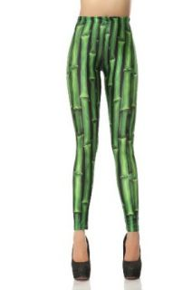 LoveLiness Bamboos Calico Printed Leggings One Size Green: Clothing
