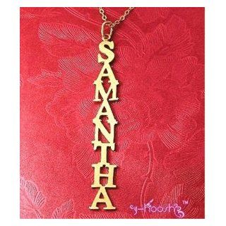 Personalized 18K Gold Plated VERTICAL Name Necklace Samantha: Everything Else