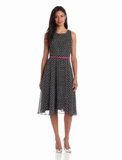 Jessica Howard Women's Sleeveless Belted Asymettical Hem Dress, BLack, 6: Clothing