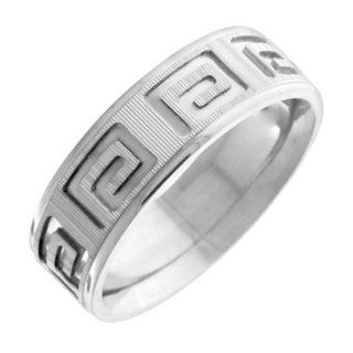 14K White Gold Men's Designer Greek Key Wedding Band (7mm): Jewelry