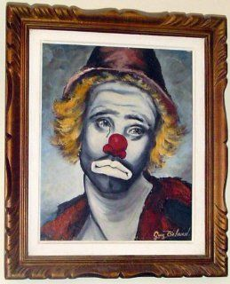 Original OIL Painting Sad Clown By Canadian Guy Beland