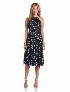 Jessica Howard Women's Sleeveless Shirred Neck Fit and Flare Dress, Navy/Silver, 6: Clothing