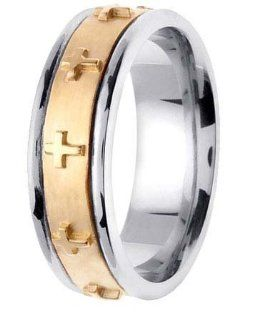 L.A. Wedding 14KLAW428 S10.5 7mm 14K Two Tone Handmade Wedding Band   Size 10.5: L.A. Wedding: Everything Else