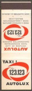 Autolux Taxi Tel 123.123 Brussels Belgium matchcover Collectibles & Fine Art