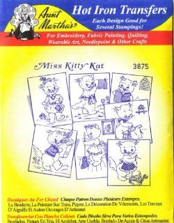 Aunt Marthas Hot Iron Transfers for Embroidery Red Work Fabric Painting Quilting Wearable Art Needlepoint & Other Crafts Miss Kitty Chores Arts, Crafts & Sewing