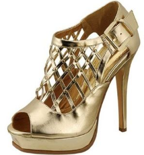 Liliana Parigi 5 Gold Ankle Buckle Straps Net Design High heels Prom Sandals (8): Shoes