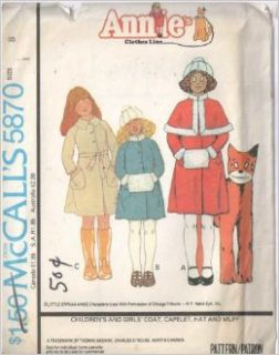 Vintage Mccalls 5870 Girl's Annie's Clothes Line, Sewing Pattern. Lined Button Coat Raglan Sleeves, Inverted Back Pleat, or with Fake Fur Stand Collar & Sleevebands or Collar & Buckled Belt, Welts, Patch Pockets. Or Fur Trim Capelet, Fur Ha
