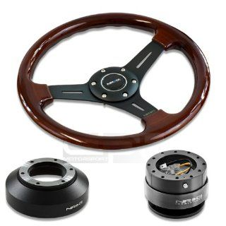 """NRG Innovations 13"""" 330mm Deep Dish Style Wood Grain Black Spokes Racing Steering Wheel Combo with 6 Hole Short Hub Adapter with Gen 2.0 Gun Metal Quick Release Kit SRK 141H Automotive"""