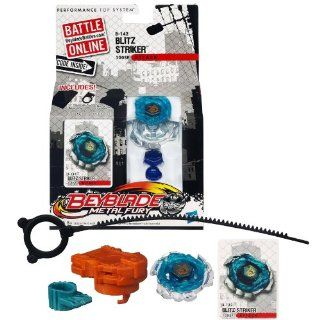 Hasbro Year 2012 Beyblade Metal Fury Performance Battle Tops   Attack 100SF B 142 BLITZ STRIKER with Face Bolt, Striker II Energy Ring, Blitz Fusion Wheel, 100 Spin Track, SF Performance Tip and Ripcord Launcher Plus Online Code: Toys & Games