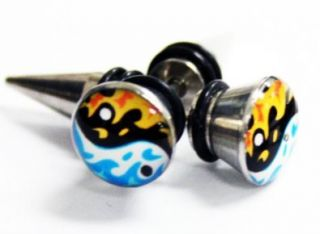 Screw On Cheater Plugs   Stainless Steel Fire and Water Ying Yang Earrings (18g)   Fake Plugs (1 pair): Shoes