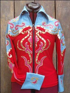 Turquoise Leather Top Red Lycra Fabric Jacket With Leather Appliques & Crystals  Equestrian Riding Shirts  Sports & Outdoors