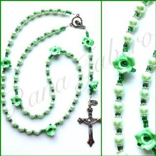 Exclusive Garden Collection Glass Rose Green Pearl Prayer Catholic Rosary   Makes a Great Communion or Wedding Gift!: Jewelry