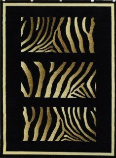 Animal Print Area Rug Design # T163 Black (8 Feet x 10 Feet)