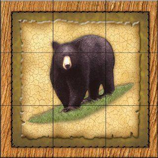 Lodge Black Bear 1 by Dan Morris   Kitchen Backsplash / Bathroom wall Tile Mural   Ceramic Tiles