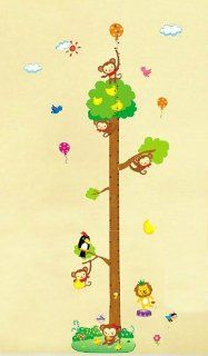 Jungle animals wall decal for nursery bedroom cartoon monkey on tree Height Chart (20cm 170cm) Wall Sticker Decor Removable walpaper for baby kids children playroom : Baby