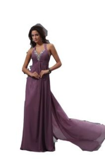 Winey Bridal Purple Sexy V neck Long Open Back Crystals Evening Prom Dresses at  Women�s Clothing store