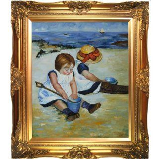 overstockArt Children Playing on the Beach Oil Painting by Mary Cassatt   Original Oil Painting Beach