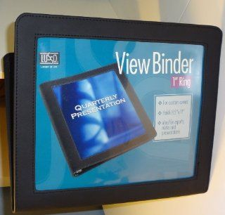 "1"" View Binder Deluxe, Sewn Faux Leather Finish, Vinyl and Fabric Construction with 2 Pockets, Business Card Holder, Pen Holder, 3 rings, Clear Window, 11.75""x 10"": Office Products"