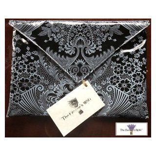 The Farmer's Wife Oilcloth Cosmetic Ipad / Tablet Envelope Clutch Bag (Grey Lace Pattern): Beauty
