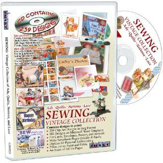 ScrapSMART   Sewing   Vintage Collection Software   Ads, Quilts, Notions & Lace   183 Designs in Microsoft Word Templates and 239 Clip Art Designs in Jpeg Format (CDVS21) Software