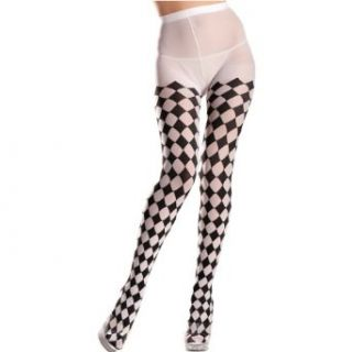 Womens Std (Up to 175 lbs)  Sexy, Cool Harlequin Design Opaque Tights: Clothing
