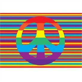 Groovy Peace Sign Multi Colored Rug by LA Rug   Hippie Rugs   Kids Bright Rugs