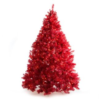 Classic Iridescent Red Full Pre lit Christmas Tree   7.5 ft.   Clear   Christmas