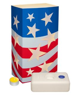 LumaBase Patriotic Luminaria Kit with Citronella Candles   Set of 24   Outdoor Lighting