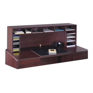 Safco 58 in. Wide High Clearance Desktop Organizer   Mahogany   Office Desk Accessories