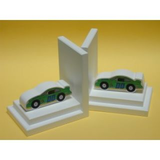 Green Stock Car Bookends with White Base   Kids Bookends