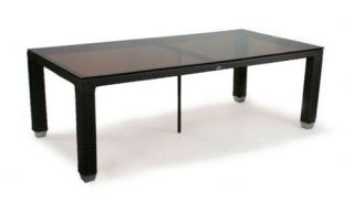 Patio Heaven Signature 42 x 84 in. Rectangle Patio Dining Table with Tempered Glass Top   Patio Tables