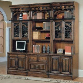 Parker House Barcelona 6 Piece Bookcase with Glass Doors   Antique Vintage Walnut   Bookcases
