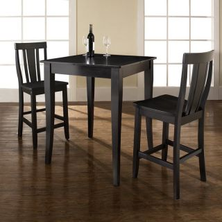 Crosley 3 Piece Pub Dining Set with Cabriole Leg and Shield Back Stools   Indoor Bistro Sets