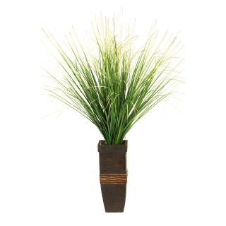 D and W Silks Green/Brown Onion Grass in Tall Square Wooden Planter   Silk Plants