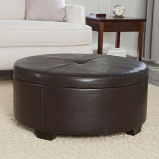 Belham Living Corbett Coffee Table Storage Ottoman   Round   Coffee Tables