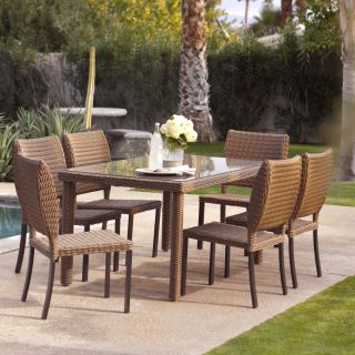 Coral Coast Maya All Weather Wicker Patio Dining Set   Seats 6   Wicker Dining Sets