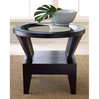 Abbyson Living Morgan Round Glass End Table   End Tables