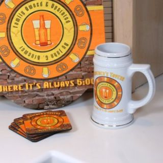 Personalized Old Tavern Beer Stein with Sign and Coasters