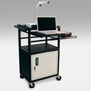 Luxor LP42CLPE Dual Pull Out Shelf Audio Visual Cart with Locking Storage   Computer Carts