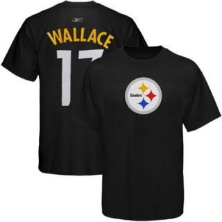 Reebok Pittsburgh Steelers #17 Mike Wallace Black Scrimmage Gear T shirt