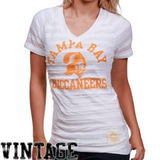 Reebok Tampa Bay Buccaneers Ladies White Retro Burnout Stripe T shirt