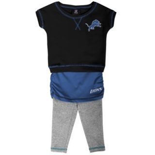 Detroit Lions Toddler Girls 2 Piece Crew T Shirt & Leggings Set   Black/Light Blue/Ash