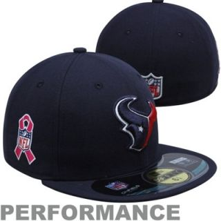 New Era Houston Texans Breast Cancer Awareness On Field 59FIFTY Fitted Performance Hat   Navy Blue