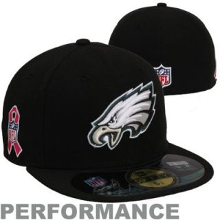 New Era Philadelphia Eagles Breast Cancer Awareness On Field 59FIFTY Fitted Performance Hat   Black