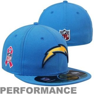 New Era San Diego Chargers Breast Cancer Awareness On Field 59FIFTY Fitted Performance Hat   Powder Blue