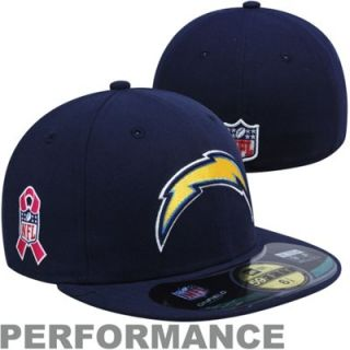 New Era San Diego Chargers Breast Cancer Awareness On Field 59FIFTY Fitted Performance Hat   Navy Blue