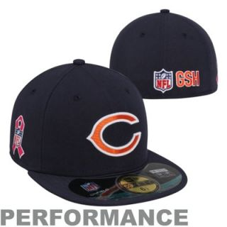 New Era Chicago Bears Breast Cancer Awareness Logo On Field 59FIFTY Fitted Performance Hat   Navy Blue