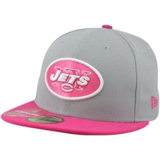 New Era New York Jets Breast Cancer Awareness On Field Player 59FIFTY Fitted Hat   Gray/Pink