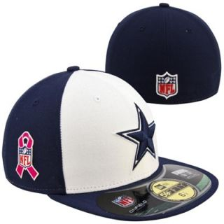 New Era Dallas Cowboys Breast Cancer Awareness On Field 59FIFTY Fitted Hat   Navy Blue/White